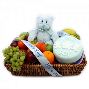 Baby Boy Cake and Fruit Hamper delivery to UK [United Kingdom]