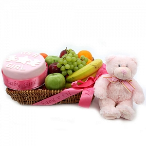 Baby Girl Cake and Fruit Hamper delivery to UK [United Kingdom]