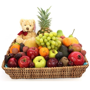 Premium Fruit Basket With Bear