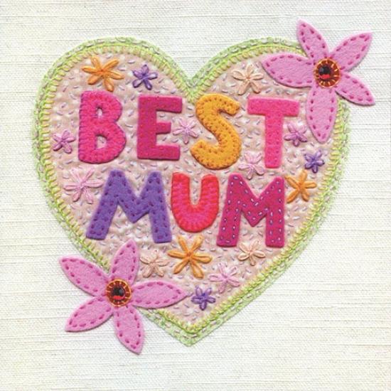 Best Mum Heart Card