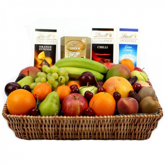 Lindt Excellence Chocolates Fruit Basket delivery to UK [United Kingdom]
